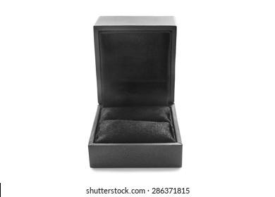 Black empty jewel box isolated over white