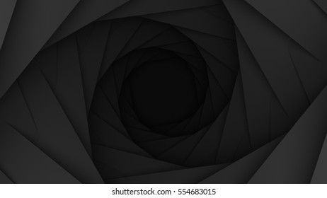 Black Empty Low Poly Geometric Swirl Background 3d Rendering
