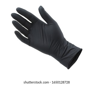 Black empty nitrile protective glove isolated on white