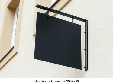 Black empty outdoor signage mockup to add company logo