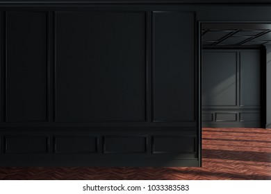 Black empty room interior with a wooden floor and wide doorways. Concept of a modern interior design. A blank wall fragment. 3d rendering mock up
