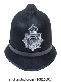 Black English Bobby policeman hat with badge - path included