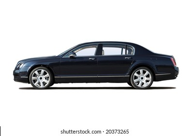 Black exclusive business sedan isolated on white