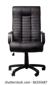 black executive leather chair on a white background