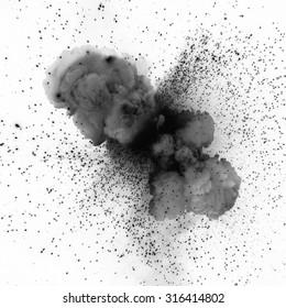 Black explosion isolated on white background