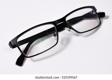 Black Eye Glasses Folded Isolated on White