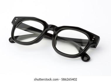 Black Eye Glasses Folded Isolated on White.