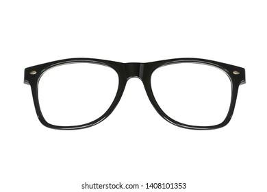 Black eye glasses isolated on white background with clipping path.