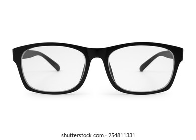 black eye glasses  isolated on white background,  file includes a excellent clipping path