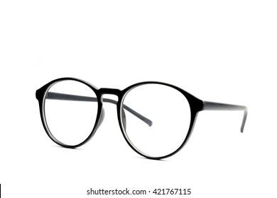 Black eye glasses Isolated on white background.