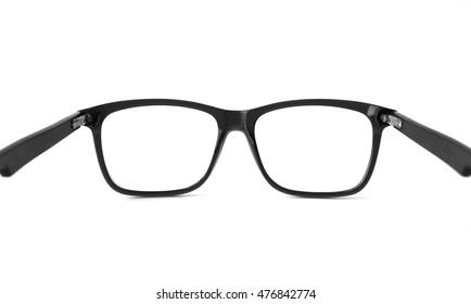 black eye glasses isolated on white background. Putting eye glasses on motion.
