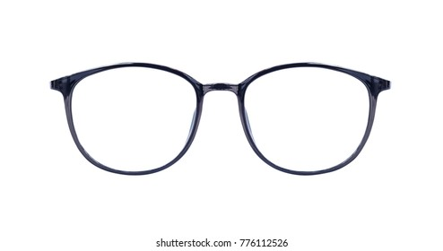 Black eye glasses isolated on white blackground with clipping path.