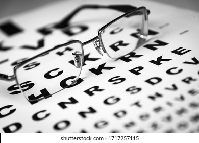 Black eye glasses on top of an eye chart. Shallow DOF. Selective focus