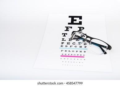 black eye glasses on white background