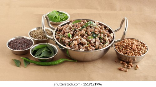 Black eyed peas curry, an Indian vegetarian, delicious, and nutritious home cooked side dish for food like chapati and roti, in a steel wok.