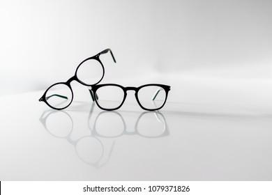 d86731a37574 Black Eyeglasses closeup. Eye glasses.Modern style eyeglasses. Round glasses  with transparent lenses