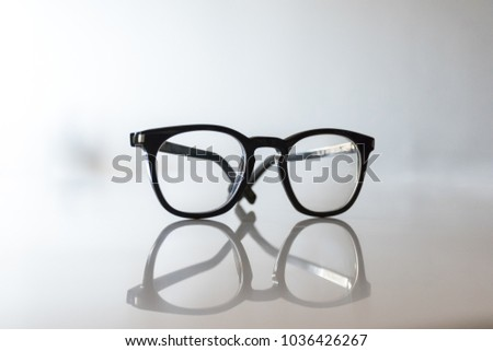 39ebfb266cb3 Black Eyeglasses closeup. Eye glasses.Modern style eyeglasses. Round glasses  with transparent lenses