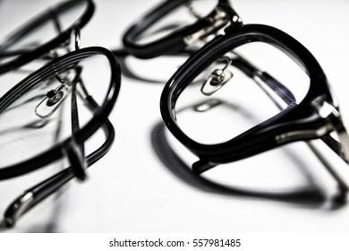 black eyeglasses isolated on white background/eyeglasses