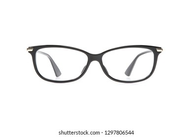 Black eyeglasses in rectangular frame transparent for reading or good vision, front view isolated on white background.
