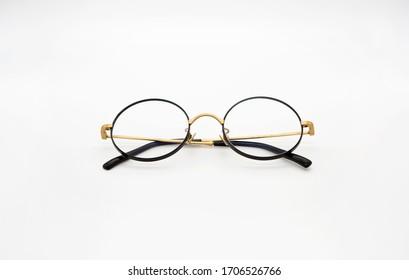 Black eyeglasses with white background