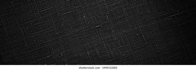 Black fabric background . Black flax texture. Pure linen sack cloth textile background. Banner