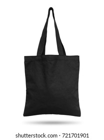 Black fabric bag isolated on white background. Cloth handbag for your design. Recycled material. Clipping paths object.