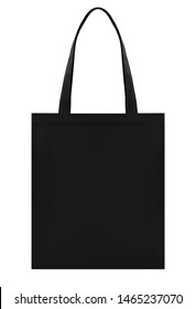 Black fabric bag shopper, layout, mockup, clipping, isolated on white background