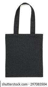 Black fabric eco bag isolated on white background