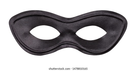 Black Fabric Face Mask Cut Out on White.