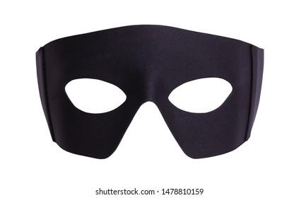Black Fabric Hero Mask Isolated on White.