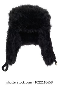 Black fake fur winter hat, photographed on ghost mannequin, isolated on white background. Front view.