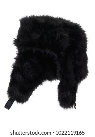 Black fake fur winter hat, photographed on ghost mannequin, isolated on white background. Almost straight side view.