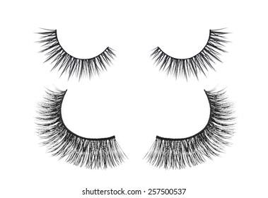 Black false eyelash isolated on white background