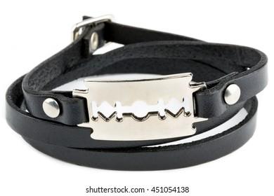 Black fashion leather bracelet isolated