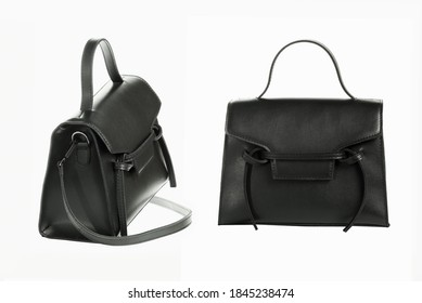Black fashionable feminine handbag on a white background in different angles