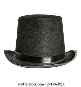 black felt hat isolated on white background. front view