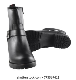 Black female autumn leather boots isolated on a white background
