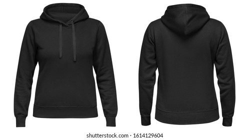 Black female hoodie sweatshirt with long sleeve, women hoody with hood for your design mockup for print, isolated on white background. Template sport pullover front and back view