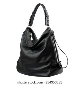 Black female leather bag isolated on white background.