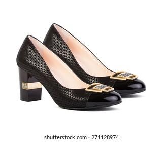 Black female shoes isolated on white background