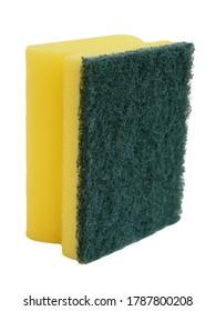 Black fiber scourer pad with nail protector yellow sponge.