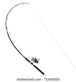 Black fishing rod isolated on white background. This has clipping path.