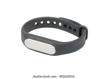 Black fitness bracelet pedometer on white background