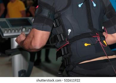 Black Fitness Jacket with Electrode: Muscular Electrostimulation