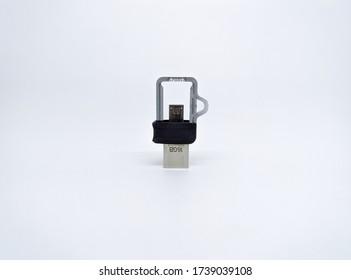 Black flashdisk isolated on white background