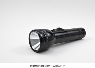 Black  flashlight  on white background.
