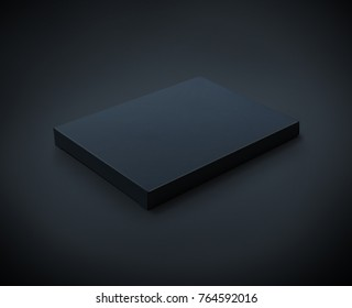 Black flat cardboard box isolated on black backgroun with clipping path