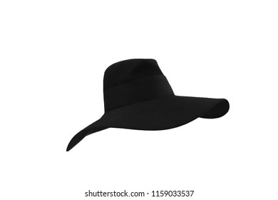 Black floppy felt hat with. Black felt hat on a white background.