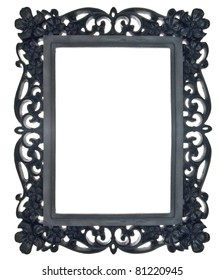 Black Floral Ornate Frame Isolated on White with a Clipping Path.