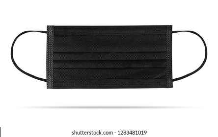 Black Flu mask isolated on white background. Pollution prevention mask. ( Clipping path )